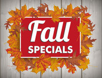 Board Autumn Foliage Fall Specials Wood. Board with foliage and text Fall Specials Royalty Free Stock Photography