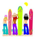 surf board babes Royalty Free Stock Photo