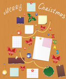Board with bauble, bow, holly berry and post Royalty Free Stock Images