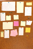 Board with blank papers,. Cards , pins and post-it Stock Images