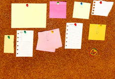 Board with blank papers. Cards , pins and post-it Royalty Free Stock Photography