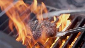 board bun cooking cutting fresh hamburger meet minced raw vegetable wooden N?tk?tt- eller grisk?ttkotlett som grillar p? raster L stock video