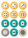 Board and card games flat icon set. Vector flat icon set on board and card game themes with dices, card suits and checkers Stock Image