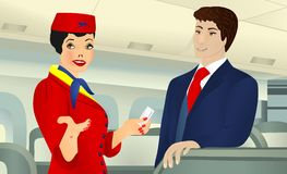 On board, cdr vector. Hostess showing the place in the aircraft to a businessman, vector format Royalty Free Stock Photos
