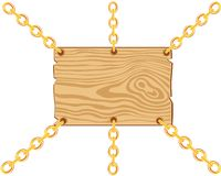 Board on chain from gild Royalty Free Stock Photography