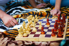 Board with chess Stock Photo