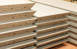 Board chipboard cut parts. For furniture production close-up Royalty Free Stock Photography