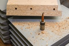 Board chipboard cut parts. For furniture production close-up Stock Image