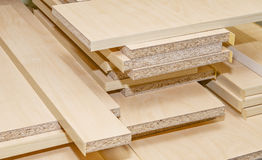 Board chipboard cut parts. For furniture production close-up Royalty Free Stock Photos