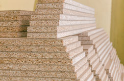 Board chipboard cut parts. For furniture production close-up Royalty Free Stock Images