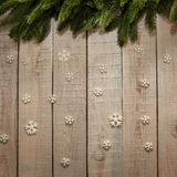 Board with Christmas tree and snowflakes royalty free stock images