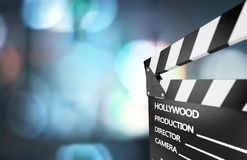 Clap board on wooden background. Board clap entertainment shot scene action black Royalty Free Stock Images