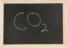 Board with CO2. Black chalk board with wooden framed surround with the symbols for carbon dioxide Stock Photos