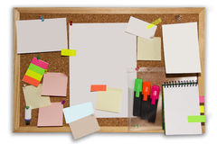 The board with colored notes and photos Royalty Free Stock Photography