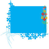 Board with colorful flowers. Colorful border with blue flowers and lines. Extra area to add text or other images - illustrated vector art work Stock Photo