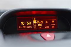 Digital lcd screen of a car. stock photography