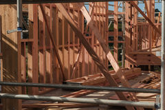 Board on the construction site of a house, building in New Zealand Stock Photography