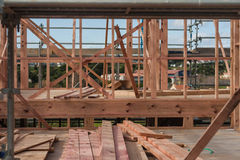 Board on the construction site of a private house Stock Photos