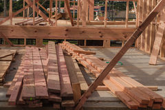 Board on the construction site of a private house Royalty Free Stock Photos