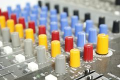 Board control sound. Audio mixer mixing board control panel Stock Images