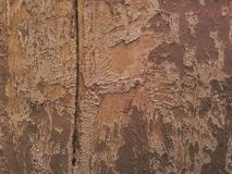 Board with a crack. Board with peeling old paint Royalty Free Stock Photo