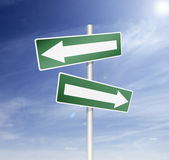 Board direction in way with arrow Stock Photo