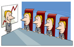 Board of directors cartoon. Concept Cartoon Illustration of Presentation to the Board of Directors Stock Photo