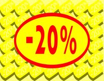Board for 20% discount in red yellow and white. A nice colorful board which can be used in all project about discounts royalty free illustration