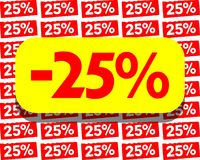 Board for 25% discount in red yellow and white. A nice colorful board which can be used in all project about discounts Royalty Free Stock Image