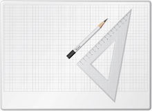 Board for drawing. With pencil and triangle Stock Images