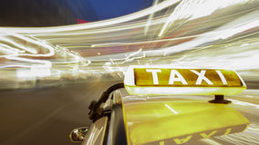 On board a driving taxi Stock Photos