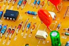 Board with electronic components. Stock Photo