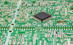 Board with electronic components stock photography