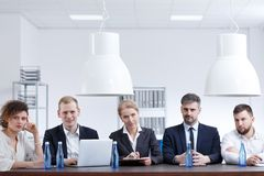 Board of examination. Members of the board of examination sitting in office Stock Image