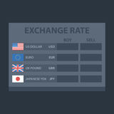 Board Exchange Rate Usd Eur Gbr Jpy Stock Photos