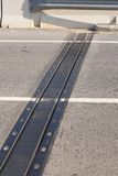 Board of expansion. Expansion joint on a bridge open to traffic Stock Photography