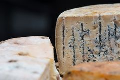 A board of French cheeses stock photos