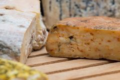 A board of French cheeses royalty free stock photography