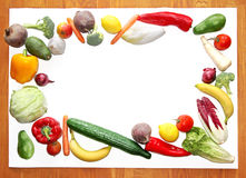 Board with fresh vegetable and fruit border Stock Image