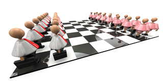 The Board Game. Checker board, with the players made up of briefcase carrying plastic male and female figures, standing opposing each other on a game board Stock Photos