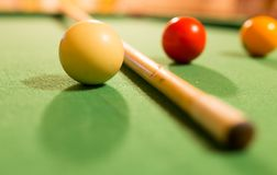 Board game with balls and cue billiards.  Stock Photos