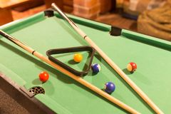 Board game with balls and cue billiards.  Royalty Free Stock Photos