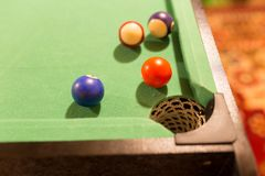 Board game with balls and cue billiards.  Stock Images