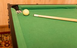 Board game with balls and cue billiards.  Stock Photography