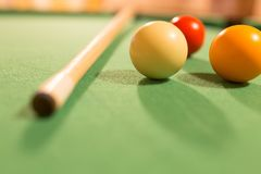 Board game with balls and cue billiards.  Royalty Free Stock Images