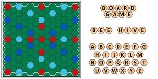 Board game Bee hive, developing erudition, bee honeycomb board and letters   Stock Photography