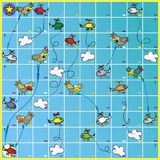 Board game - birds and planes. Board game for kids. A game for two or more children. Everyone has a your figurine. Haze dice. The player who finds himself on a Stock Photo