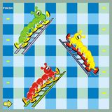 Board game, centipede and ladders, vector icon. Board game for children, centipede and ladders, vector icon. Three different caterpillars. Cute colored image. A stock illustration