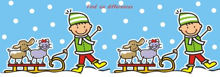 Board game for chidren, find six differences, winter game. Board game for chidren, find six differences, boy and sled with cat and dog, vector illustration royalty free illustration