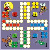 Game - insect. Board game for children - each player has four pieces. The winner is the one who puts all the pieces first to the finish - color box Royalty Free Stock Image